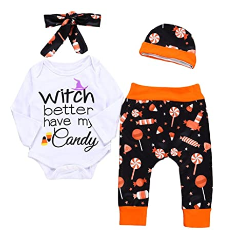 Childplaymate 4pcs Set Cute Letters Baby Halloween Romper Pants Hat  Headband Suit (0-6M)  Amazon.in  Baby a830208c3a2b