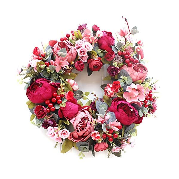 CURE SECRET 16 Inches Artificial Flower Wreath Autumn Peony Wreath with Green Leaves Christmas Fall Front Door Decor
