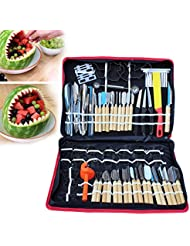 80pcs Kitchen Vegetable Food Fruit Cake Carving Knife Set Peeling Tool Kit Portable with Carrying Bag