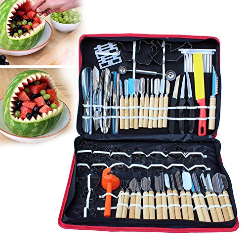 80pcs Kitchen Vegetable Food Fruit Cake Carving Knife Set Peeling Tool Kit Portable with Carrying Bag (Best Cake For Carving)