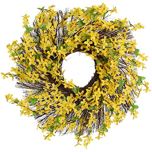 "17"" Forsythia Twig Wreath,Forsythia Floral Twig Door Wreath Spring Wreath for Front Door,Yellow"