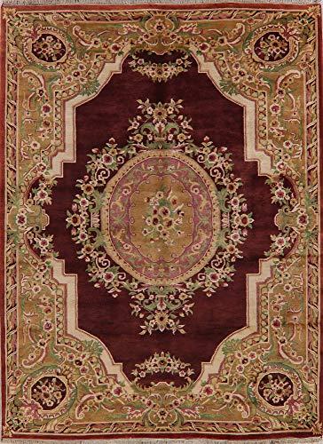 Aubusson Oriental Area Rug New Handmade Wool Floral Indian Carpet 8X11 Burgundy