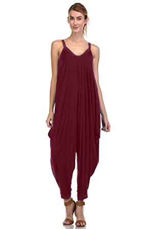 da29f468041 Amazon.com  Love In Ladies Oversized Drapery Harem Jumpsuit with Banded  Scoop-neck and Shoulder Straps  Clothing