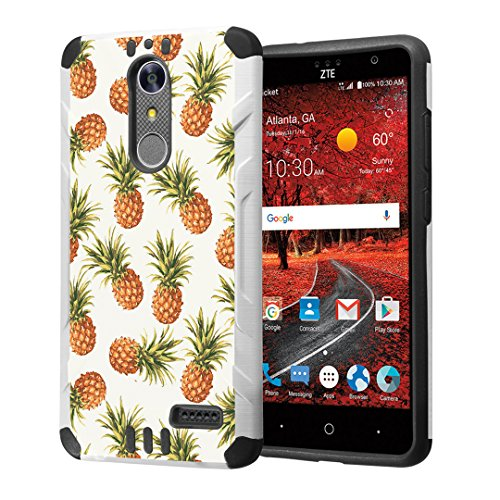 Grand Pineapple (ZTE Grand X4 Case, ZTE Grand X 4 Case, Capsule-Case Hybrid 2 Layer Silm Defender Armor Combat Case (White & Black) Brush Texture Finishing for ZTE Z956 Grand X4 / X 4 - (Pineapple) )
