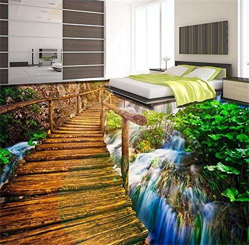 ZLJTYN 270cmX180cm Custom 3 d PVC wallpaper photo wallpaper Beautiful sunset bridge floor outdoor waterfalls running water floor ()