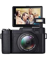 GordVE Digitalkamera, 24,0 MP Nachtsicht-Camcorder 3,0 Zoll 180 ° drehbare Bildschirmkamera Vlogging-Kamera Digitalzoom-Kamera Video mit Blitzlicht HD 1080P Digital-Camcorder