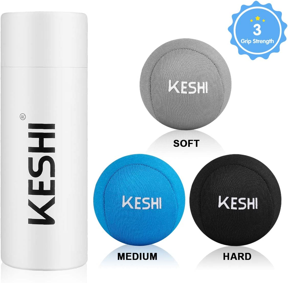 KeShi Hand Stress Balls with 3 Density, Fabric Hand Therapy Grip Ball for Anxiety Hand Strengthening Physical Rehabilitation,Great for Adults, Elders Kids