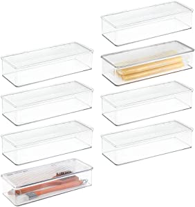 mDesign Stackable Kitchen Pantry Cabinet/Refrigerator Food Storage Container Bin, Attached Lid - Organizer for Packets, Snacks, Produce, Pasta - BPA Free, Food Safe - 8 Pack - Clear