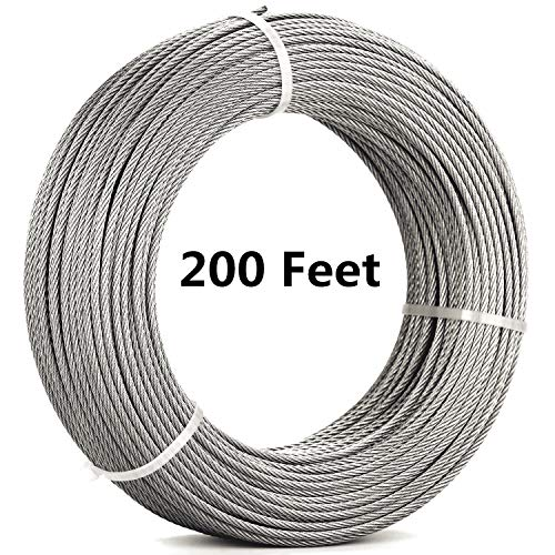 Senmit 1/8 Stainless Steel Aircraft Wire Rope for Deck Cable Railing Kit,7 x 7 200 Feet T 316 Marine Grade