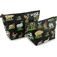 Cosmetic Bag for Women Makeup Pouch Cute Travel Organizer Bag, Waterproof, Pack of 2 (Black)