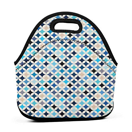 for Womens Mens Boys Girls Modern,Geometric Circles with Half Round Like Square in the Blue Tones Mix Image Backdrop, Multicolor,hard top lunch bag for men ()