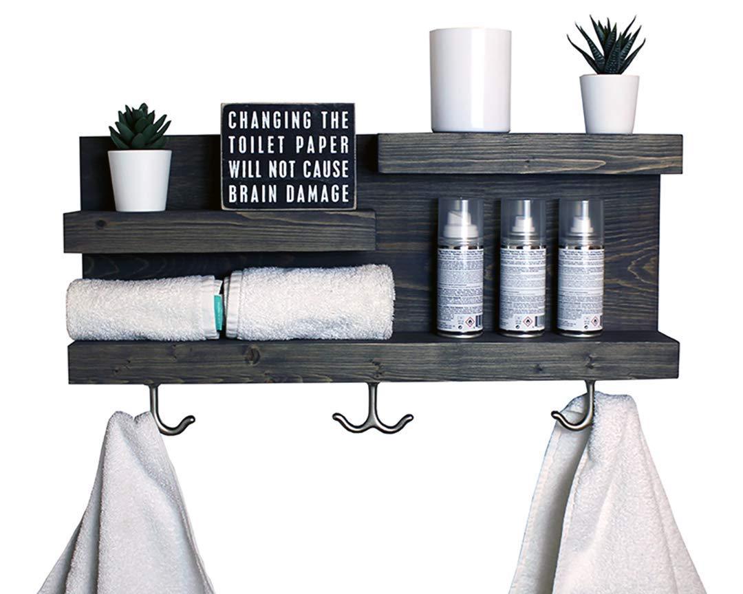 Amazon Com Bathroom Shelf With Modern Towel Hooks Country Rustic Storage Modern Farmhouse Apartment Decor Guest Storage Handmade