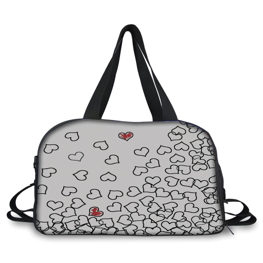 iPrint Travel handbag,Black and White,Heart Shapes Illustration Love You Bridal Wedding His and Hers Theme,Black White Red ,Personalized