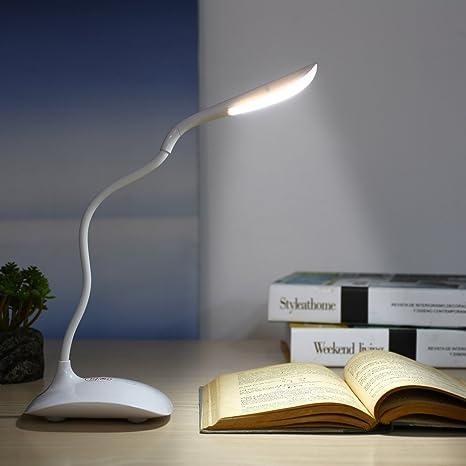 Deckey Mini Lámpara de Escritorio LED Lámpara de Mesa para Estudio ,Lectura, Cuidado para Los Ojos Iluminación 3 niveles de brillo Flexo ...