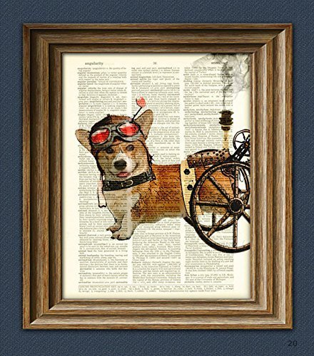 Admiral Wheels the Steampunk Corgi dog illustration beautifully upcycled dictionary page book art - Steampunk Frame