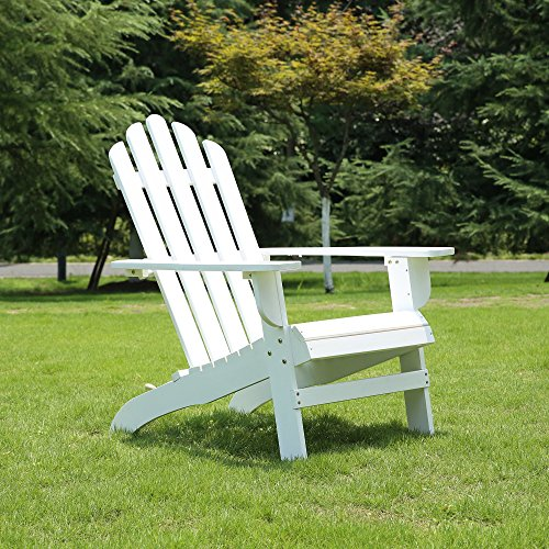 Azbro Outdoor Wooden Fashion Adirondack chair/Muskoka Chairs Patio Deck Garden Furniture,White by Azbro