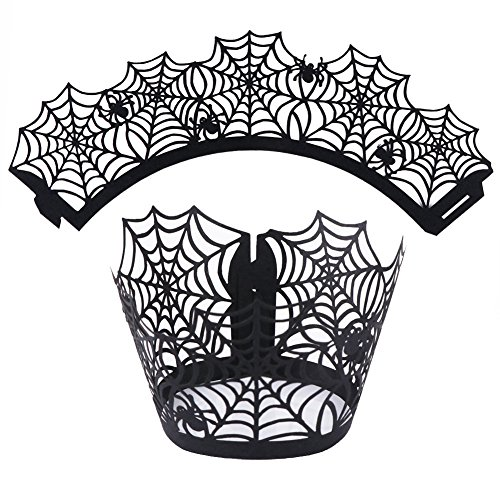 Gigamax(TM) Halloween Decorations 12pcs Cupcake Wrappers Wraps Case Hollow Cut Cake Decorating Supplies Halloween Party Accessories[ Spiderweb ]