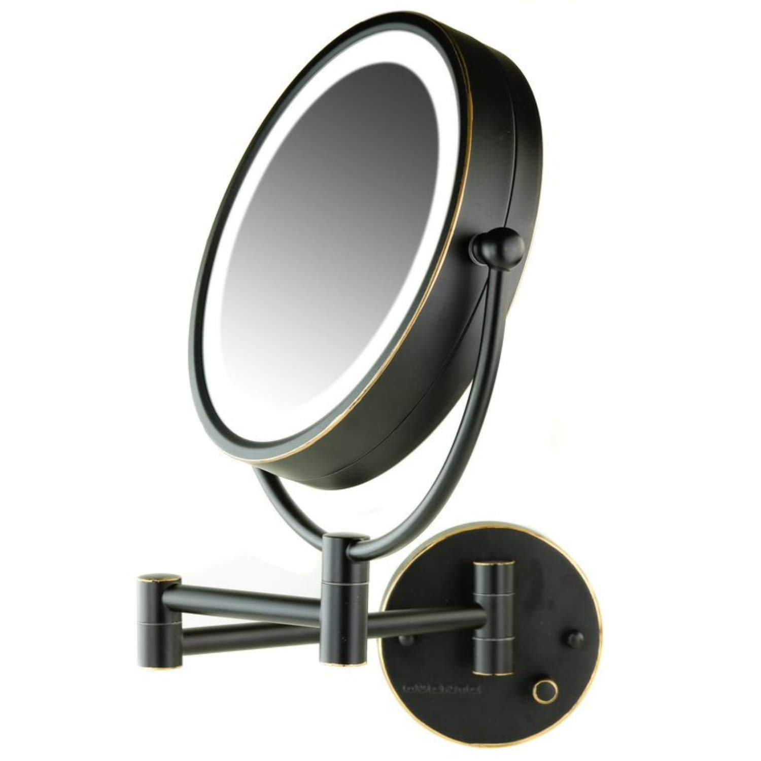 OVENTE Lighted Wall Mount Mirror, 8.5 Inch, Dual-Sided 1x/7x Magnification, Hardwired Electrical Connection, Natural White LED Lights, 9-Watts, Bronze (MPWD3185BZ1X7X)