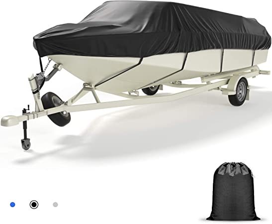 Heavy Duty Boat Cover, 600D Waterproof UV Resistant Marine Grade Polyester Boat Covers Fits V-Hull, TRI-Hull, Pro-Style, Fishing Boat, Runabout, Ski, Bass Boat, Black