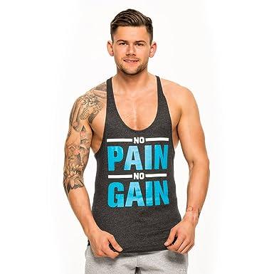 Corex Fitness No Pain No Gain Mens Gym Vest Blue Athletic Fit Workout Tank Top