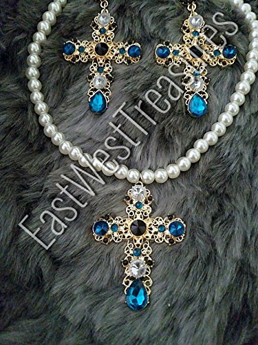 EWT Gold baroque rhinestone crystal Zara statement earrings and necklace set/large cross earrings and necklace - Set Earrings Chanel