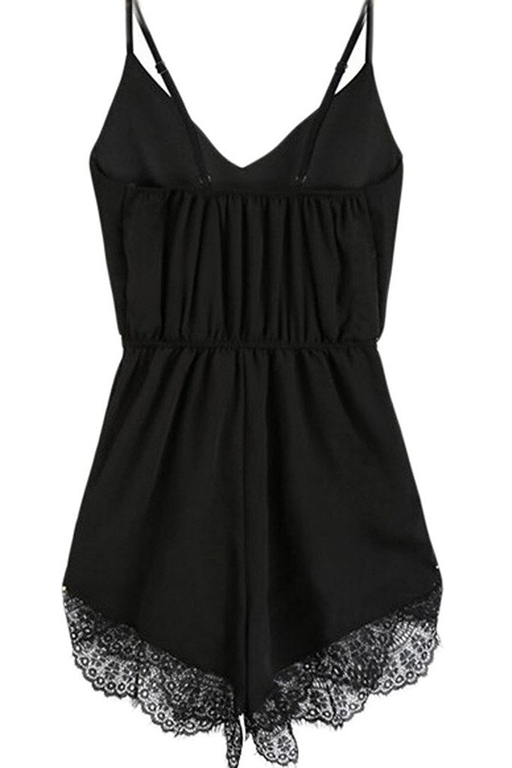 FACE N FACE Women's Lace Chiffon Sleeveless Jumpsuit Rompers Large Black by FACE N FACE (Image #3)