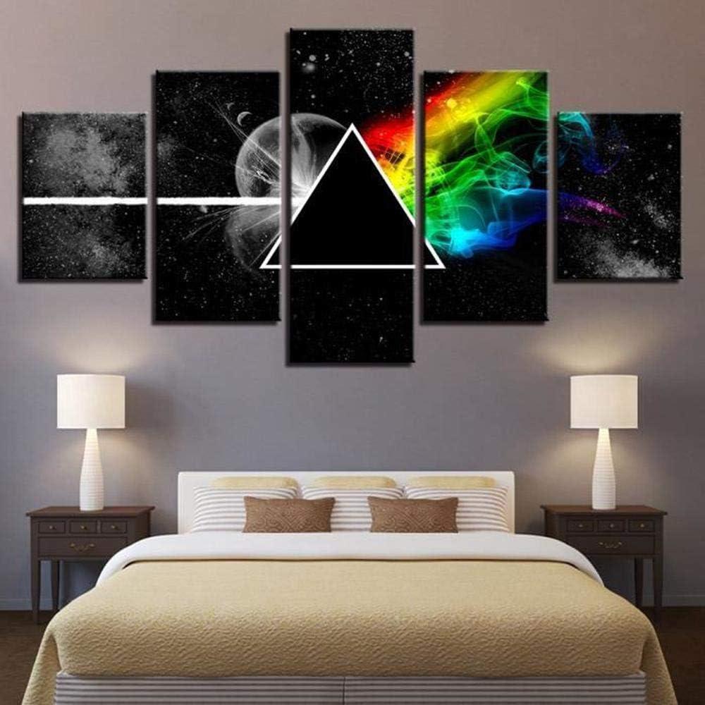 5 Pi/èces 150x80cm Plusieurs /él/éments /À Accrocher Mural Impression sur Toile Pink Floyd Band Peintures 150x80cm