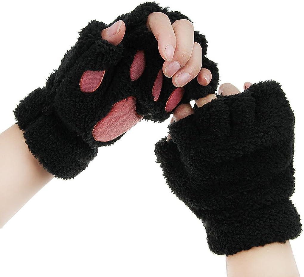FakeFace Cute Cat Kitten Paw Fingerless Faux Fur Plush Gloves For Girls Women, Black, Small at  Women's Clothing store