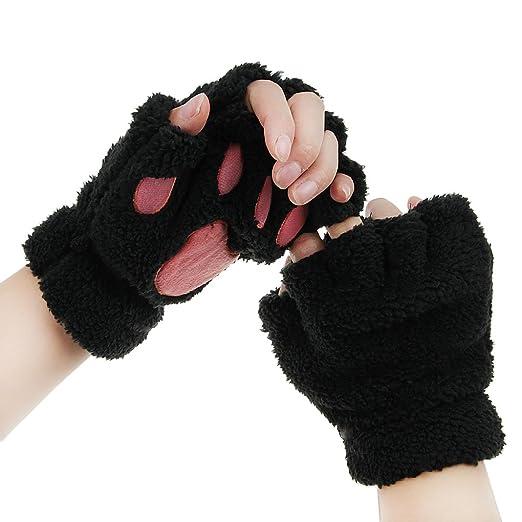 53e3b4977 FakeFace Cute Cat Kitten Paw Fingerless Faux Fur Plush Gloves For Girls  Women, Black,