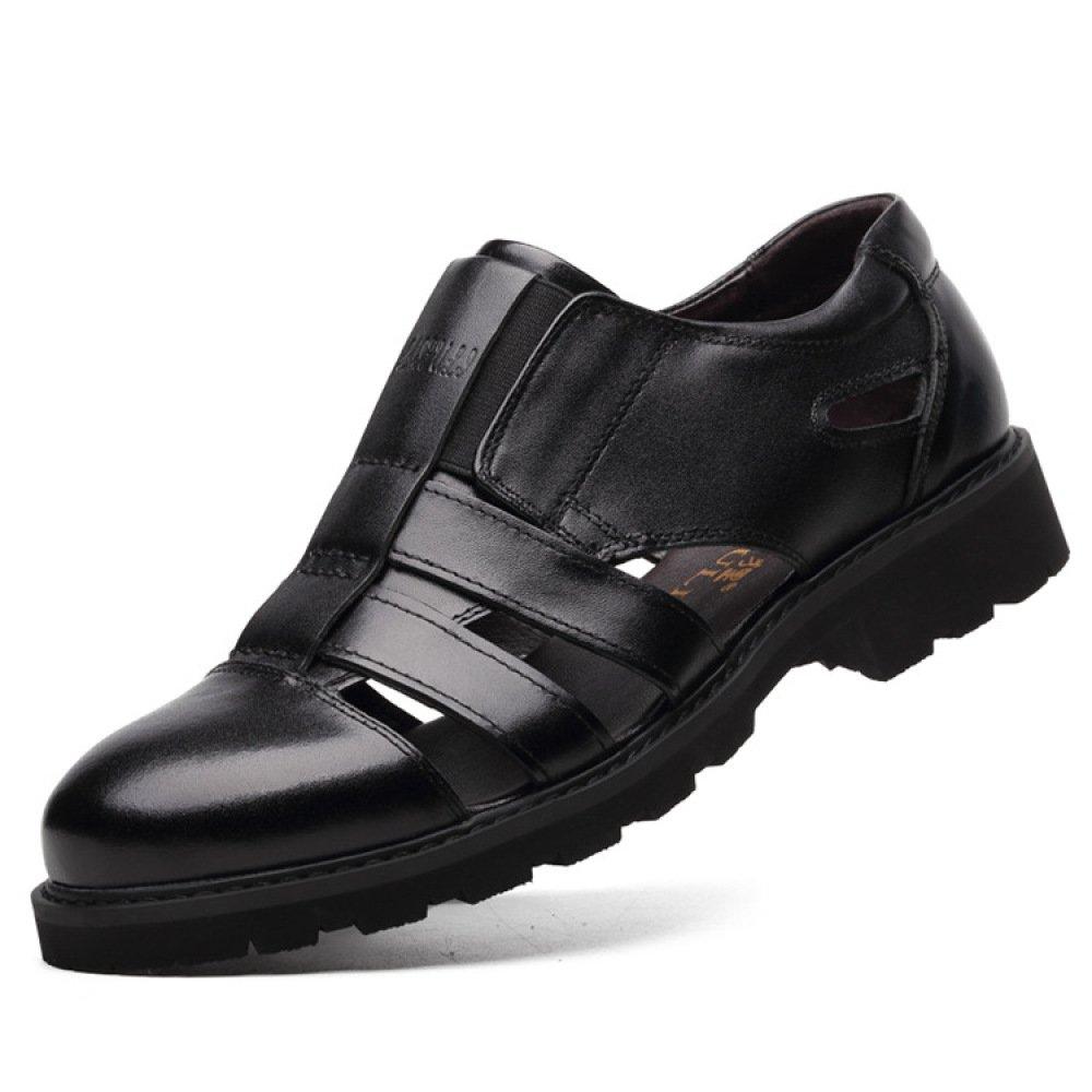 Zapatos De Cuero Genuino De Los Hombres del Verano Sandalias Respirables Huecas Zapatos Casuales Ocasionales del Negocio,Black-46=280mm 46=280mm|Black