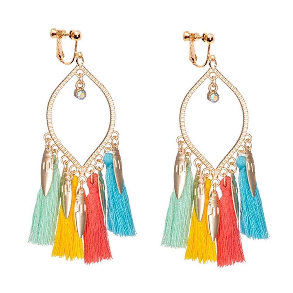 Bohemia Long Tassels Dangle Clip on Earrings Screw on backs Teardrop Girls Thread Leaf Drop Multicolor