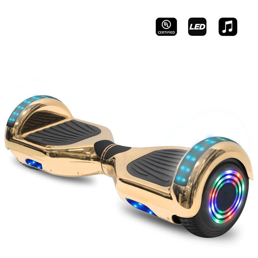cho 6.5'' inch Wheels Electric Smart Self Balancing Scooter Hoverboard with Speaker LED Light - UL2272 Certified (Chrome Gold) by cho