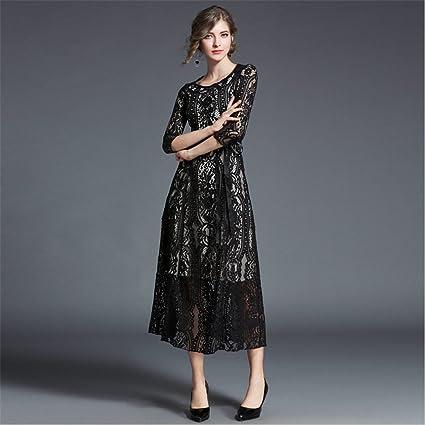 LLS-Abito da Cocktail Partito Vestito floreale Vestito Donna Lungo Vintage  Donna b830914b355