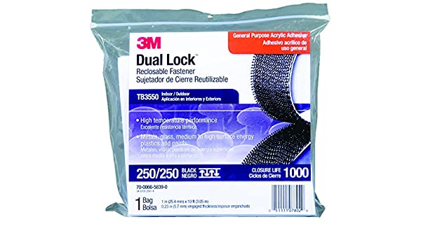 3M(TM) Dual Lock(TM) Reclosable Fastener TB3550 250/250 Black, 1 in x 10 ft, 1 Mated Strip/Bag, 8 bags per case: Amazon.com: Industrial & Scientific