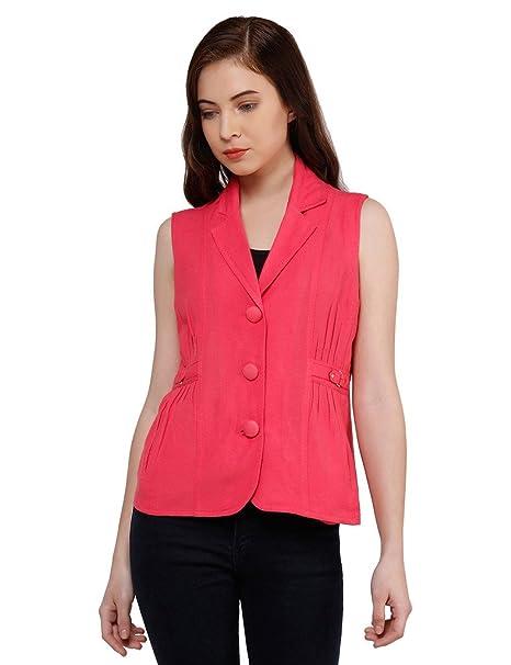 b56256680317b oxolloxo Women Pink Sleeveless Blazer  Amazon.in  Clothing   Accessories