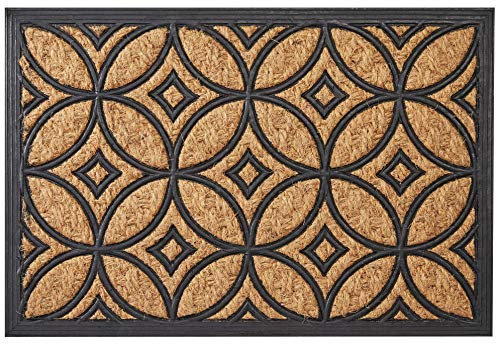 Envelor D Geometric Art Deco Welcome Coir Rubber Door Mat -
