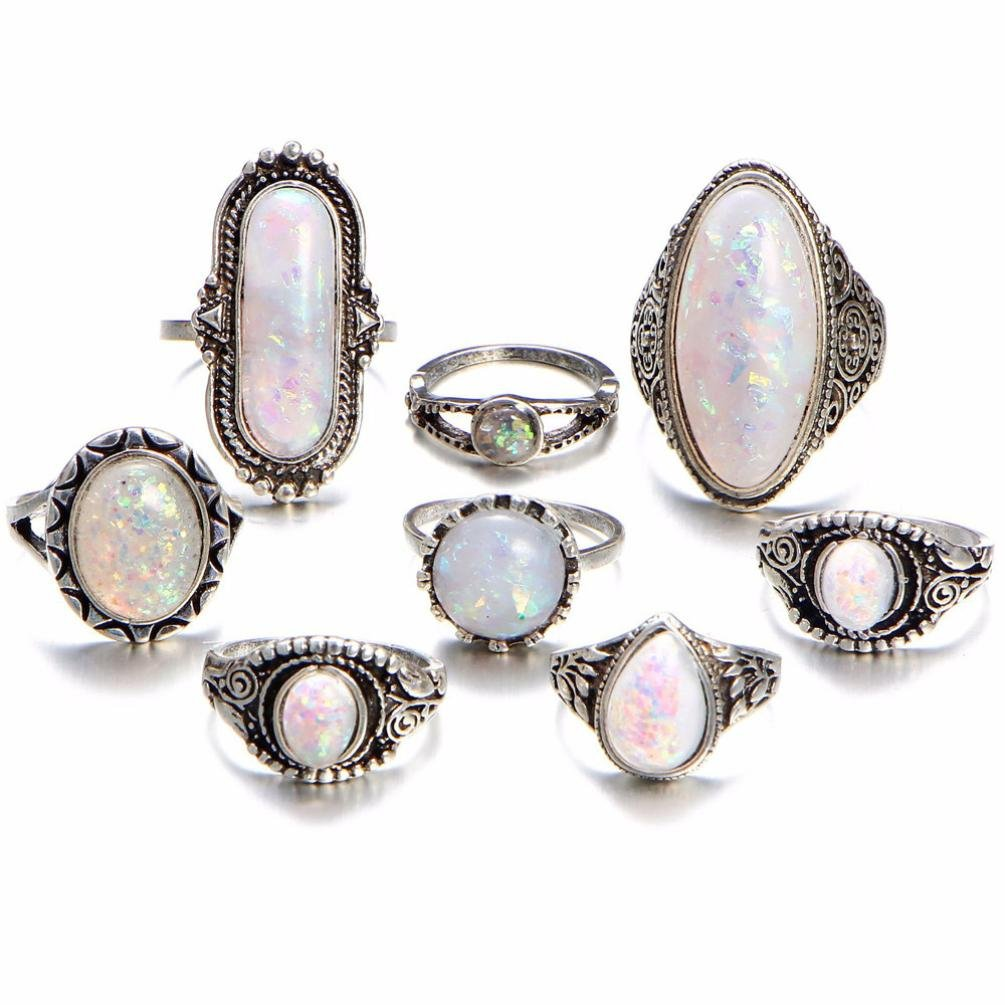 SMALLE◕‿◕ Clearance,8PC Boho Jewelry Silver Natural Gemstone Marquise Moonstone Personalized Ring