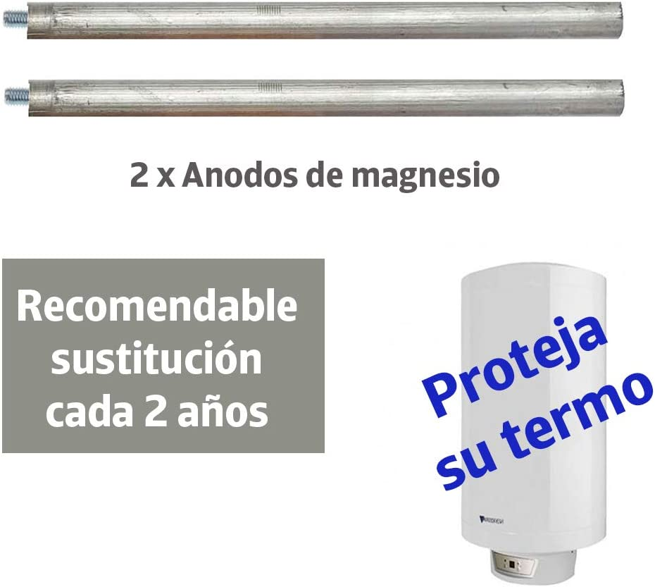 2 /Ánodos de magnesio 22x350mm Fleck Aparici. Thermor Ariston para termo el/éctrico Junkers 2 adaptadores para diferentes roscas 8M a M6 : /Ánodo sacrificio para calentador compatible con Cointra