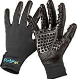 PETPAL Pet Grooming Gloves Pet Hair Remover - Gentle Deshedding Brush Glove Deshedder Tool - Efficient Pet Hair Removal Tool - Massage Brush For Dogs, Cats, Horses, State of The Art Comb