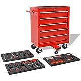 vidaXL 269-tlg. Werkstattwagen gefüllt mit Werkzeugen Werkzeugwagen Stahl Rot