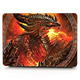HRH Fiery Dragon Design Laptop Body Shell Protective Hard Case for New MacBook Pro 13 inch with Touch bar A1706 A1989/ Without Touch bar A1708 (2018 2017 2016 Release)