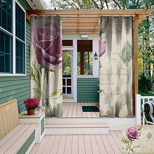 leinuoyi Rose, Outdoor Curtain of Lights, Vintage Postcard Design with Delicate Rose Blossom Hand Drawing Artsy Print, Outdoor Curtain Panels for Patio Waterproof W84 x L96 Inch Tan Pale Pink Green