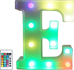 Colorful LED Marquee Letter Lights with Remote – Color Changeable Light Up Alphabet Signs – Party Bar Letters with Lights Decorations for the Home - Multicolor E