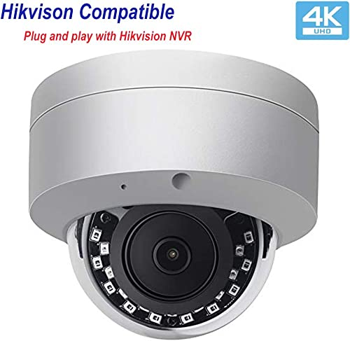 Hikvision Compatible Ultra 4K POE IP Camera Outdoor Dome Security Camera,82ft Night Vision, Audio Input Output,SD Slot,Support Onvif,H.265,IP66 Waterproof VK-IMD38-AS 2.8mm