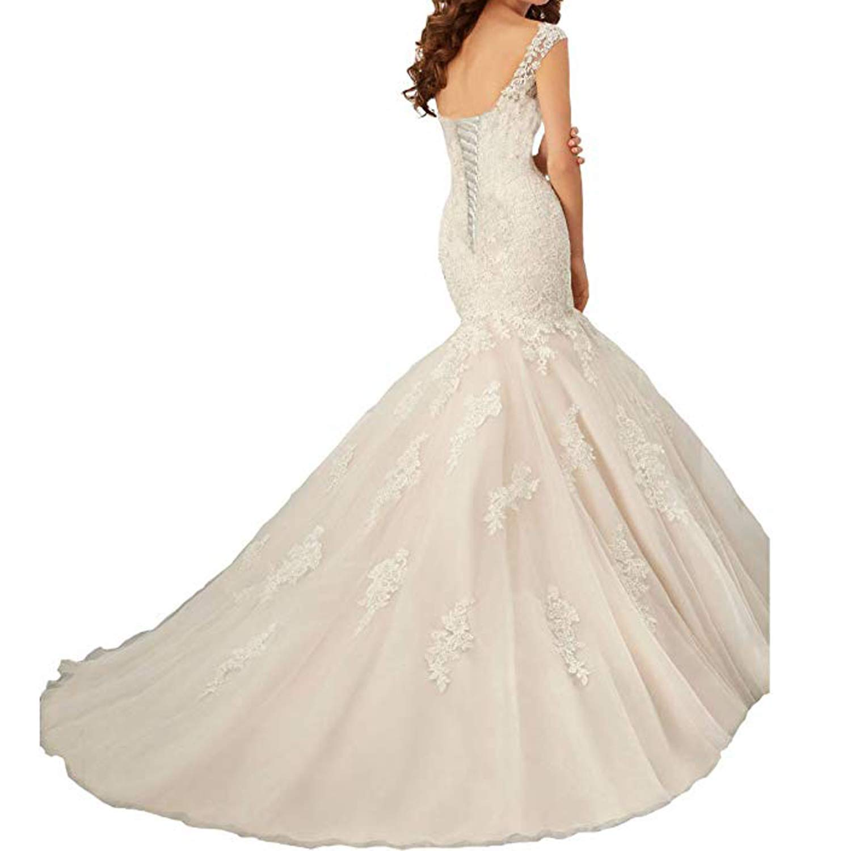 OWMAN Womens Cap Sleeves Mermaid Lace Backless Wedding Dresses Long Bridal Gowns FLLH04200