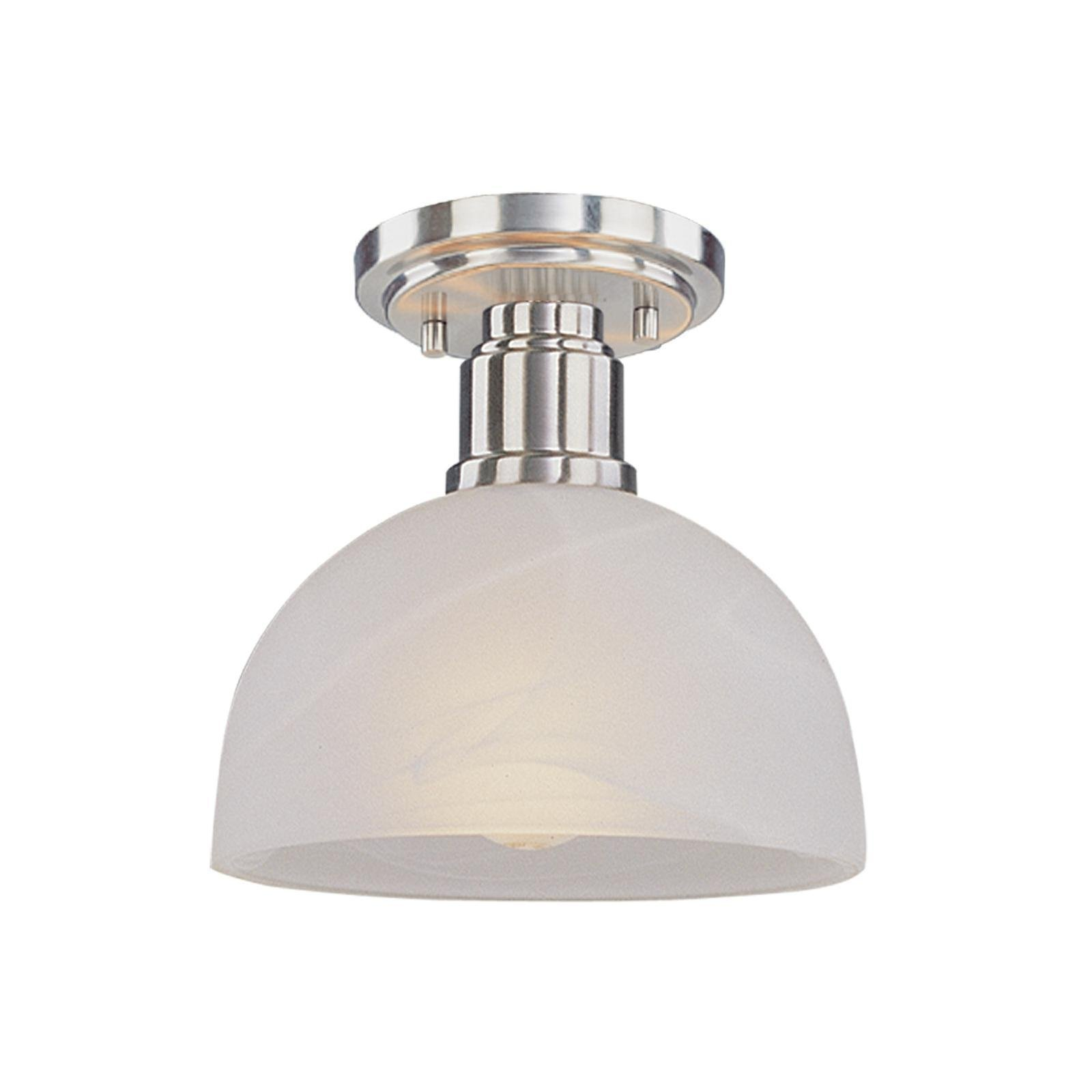 Z-Lite 314F-BN Chelsey One Light Flush Mount, Metal Frame, Brushed Nickel Finish and White Swirl Shade of Glass Material