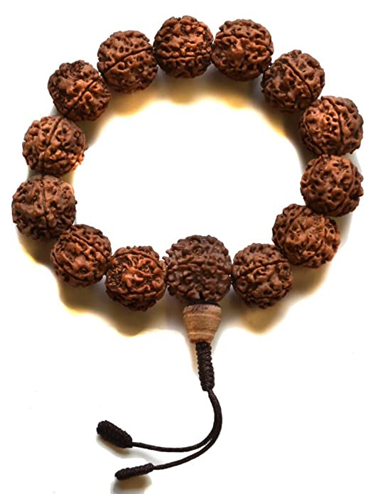 BUDDHAFIGUREN Pulsera budista - Rudraksha semillas de 17 mm de ancho