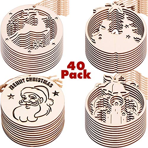 PartyBus Merry Christmas Wood Cutouts, Unfinished Round Wooden Ornaments for Holiday Card Decoration, Xmas Gift Tags for Kids Art & Craft DIY, Burlap String Pre-Tied Slices Rustic Coaster D