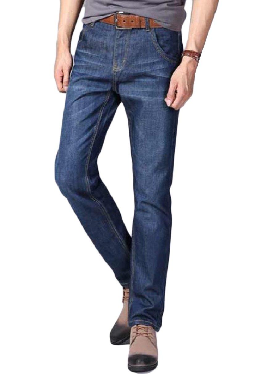 Abetteric Men's Denim Fit Straight-Fit Regular Washed Fine Cotton Jeans Blue 28