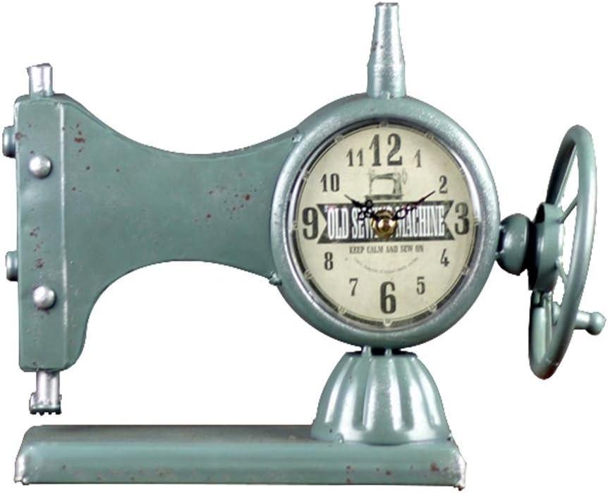 Alarma de máquinas de coser de reloj relojes de hierro estilo retro decoración del hogar, azul, rojo negro , blue: Amazon.es: Hogar